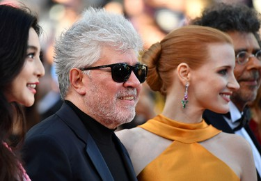 (From L) Chinese actress and member of the Feature Film jury Fan Bingbing, Spanish director and President of the Feature Film Jury Pedro Almodovar, US actress and member of the Feature Film jury Jessica Chastain and French music composer and member of the Feature Film jury Gabriel Yared arrives on May 23, 2017 for the '70th Anniversary' ceremony of the Cannes Film Festival in Cannes, southern France.  / AFP PHOTO / Alberto PIZZOLIALBERTO PIZZOLI/AFP/Getty Images
