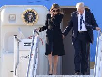 Donald and Melania Trump Air Force One