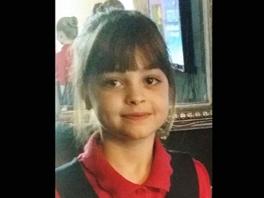 This undated photo obtained by the Press Association on Tuesday, May 23, 2017, of Saffie Roussos, one of the victims of an attack at Manchester Arena, in Manchester, England, which left more than a dozen dead on Monday. A suicide bomber blew himself up as concert-goers left a show by the American singer Ariana Grande. (PA via AP)