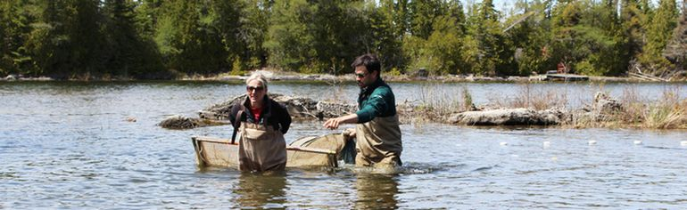 Environment and Climate Change Minister Catherine McKenna helped Cavan Harpur, park ecologist for Bruce Peninsula National Park and Fathom Five National Marine Park, haul a Fyke net in to shore at the Hay Bay Research Site near Tobermory, May 19. Photo by Zoe Kessler/Wiarton Echo