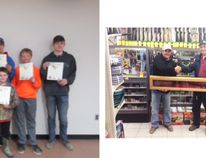 Above right: The lucky winner of this years Dunvegan Fish and Game Assn. rifle raffle is Corey Lacey of Sexsmith. Shown is Dennis Lof (right) presenting the Winchester '94 Canadian Centinal to Corey. Take heart if you didn't win there will be another rifle raffle next year. Thanks to all who supported the this years fund raiser. Above left: Hunter Education grads - back row, l to r, Nicholas McIntyre Andrew Weber(instructor) , Grace Langell, Stephanie Blake, Rueben Harvey, Alex Schweigert, John Harrison, and Front row Sage Gillett and Keaton Richardson