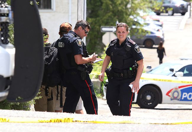 Greater Sudbury Police investigate an incident on the Lloyd Street hill that sent one male to hospital with critical injuries in Sudbury, Ont. on Wednesday May 24, 2017. John Lappa/Sudbury Star/Postmedia Network