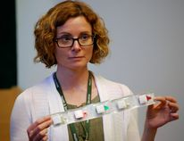 Haldimand-Norfolk Health Unit nurse Tamara Robb displays antiseptic swabs that are part of intravenous injection kits distributed to local drug addicts free of charge. Robb spoke to the Haldimand-Norfolk Board of Health this week about free needle exchanges and how this strategy reduces the incidence of blood-borne illnesses such as hepatitis C. Monte Sonnenberg/Simcoe Reformer