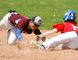 It's a close call at second base in the COSSA baseball semi-final game between the PECI Panthers (left) and Peterborough Crestwood Mustangs Wednesday in Peterborough. (Peterborough Examiner photo by Clifford Skarstedt)