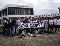 MJHS students who were bound for Expo 67 included Gloria Morrell, Moira Cook, Cynthia Robideau, Alice Chugg, Susan Paul, Marg McCuaig, Sonja Hencke, Annette Luckey, Sylvia Gerry, Laurie Newall, Ruth Stredulinsky, Trina Johnson, Bonny Brown, Nancy Sarver, Joanne Dorscheid, Karen Rogers, Bette-Jean Douglas, Russell Stashko, Ralph Vigen, Jack Littleton, Mervin Edgecombe, Don Edgecombe, Dave Arnell, Alec Wales, Allen Randall, Sandy Bruce, Bruce Cranston, Richard Kulhawe, Rick Stojan, Don Wigelsworth, Brian Leathem, Brian Hanson, Don Drysdale, Ross Adam, Jimmie Dumont, David Stredulinsky, George Belford, Wayne Hodges, Don Lilge. NOTE: The names do not fit the photo exactly because it was taken in advance and some of these students later dropped out and were replaced by others not present for the photo. Photo courtesy Karen Sorensen Burgess