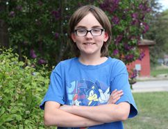 PAUL KRAJEWSKI HIGH RIVER TIMES/POSTMEDIA NETWORK. Alex Hudson, a 13-year-old Blackie resident, will shave his head on Friday, May 26, in High River to raise money for regional organizations that support youth.