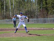 Northern Lights Academy pitcher Ryan Schwindt winds up for a pitch in a game earlier this season. The Lights host the South Jasper Place Rays this weekend at Evergreen Park. Supplied