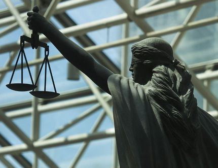 Scales of Justice statue at B.C. Supreme Court in Vancouver, May 5, 2016. (Photo by Jason Payne/Postmedia Network)
