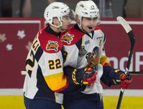 Erie Otters centre Anthony Cirelli congratulates Dylan Strome on his goal during Memorial Cup action against the Saint John Sea Dogs in Windsor on May 22, 2017. (THE CANADIAN PRESS/Adrian Wyld)