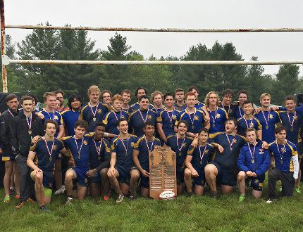 Brantford Collegiate Institute senior boys rugby team celebrates its CWOSSA championship on Thursday. (Expositor Photo)