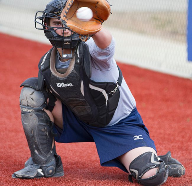McMurrayite Josh Iannetti moves to a catch a ball during pitching session Thursday at Shell Place. Iannetti is one of three locals on the roster, including pitchers Tyler Hodder and Ryan Dunn. Robert Murray/Fort McMurray Today/Postmedia Network