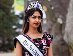 Fort McMurray resident Sravya Kalyapanu, 21, poses with her Miss Northern Alberta crown and sash. Photo by Kinza Malik.