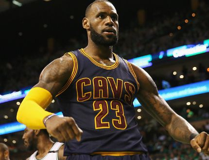 LeBron James of the Cleveland Cavaliers celebrates his dunk in the third quarter against the Boston Celtics during Game 5 of the 2017 NBA Eastern Conference Finals at TD Garden on May 25, 2017. (Elsa/Getty Images)