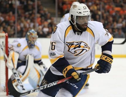P.K. Subban of the Nashville Predators skates on defense in the third period of Game Two of the Western Conference Final during the 2017 Stanley Cup Playoffs at Honda Center on May 14, 2017 in Anaheim, California. (Photo by Sean M. Haffey/Getty Images)