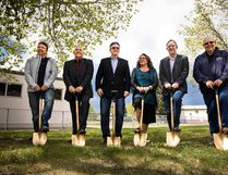 Dignitaries and project contractors break ground on the fifth leg of the regional waterline to connecting Mirror and Bashaw last Friday outside of the Mirror Community Hall. (Ashli Barrett/Lacombe Globe)