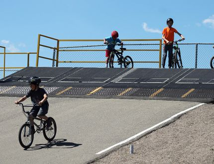 Photo by Jesse Cole Reporter/Examiner Riders hit the track in Stony Plain on May 20.