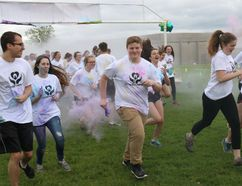 Bruce Bell/The Intelligencer They're off and running in the five-kilometre colour run at TogetherFest at Bayside Secondary School on Friday afternoon.