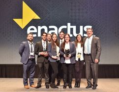 Enactus Lambton picked up its ninth national title at the recent Enactus Canada National Exposition held in Vancouver. Pictured here, from left to right, are faculty advisor Matt Hutchinson, with students Zaid Algaieny, Jason Thompson, Haylee McKelvie, Rafe Jamieson, Courtney Neilson and Megan Rizzo, along with Jon Milos, director of entrepreneurship at Lambton College. (Handout)