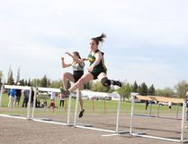 MUCC athlete Emilee Bernhardt competed in hurdles at NESSAC on Tuesday, May 23 at MUCC Field.