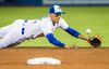 Jays shortstop Ryan Goins was impressive defensively against Texas on Saturday. (The Canadian Press)
