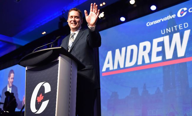 Andrew Scheer speaks after being elected the new leader of the federal Conservative party at the federal Conservative leadership convention in Toronto on Saturday, May 27, 2017. (THE CANADIAN PRESS/Frank Gunn)