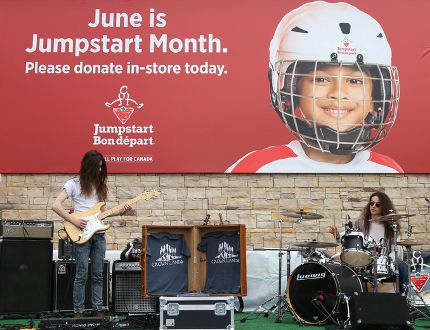 Oshawa-based musical act, Crown Lands, perform in front of Canadian Tire for Jumpstart Day on Saturday May 27, 2017 in Belleville, Ont. Jumpstart Day is the fundraising kickoff for the Jumpstart program which helps get children involved in sports and activities. Tim Miller/Belleville Intelligencer/Postmedia Network