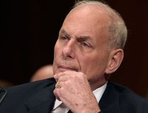 In this Thursday, May 25, 2017, file photo, Homeland Security Secretary John Kelly listens on Capitol Hill in Washington, while testifying before a Senate Appropriations subcommittee on FY'18 budget. (AP Photo/Susan Walsh, File)