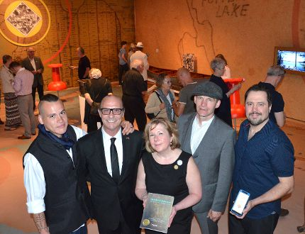 From left, artist Nyle Johnston, artist Germinio Pio Politi, gallery director and chief curator Virginia Eichhorn, artist Joel Richardson, and Wil McReynolds of Augmented Marketing at the opening of Betwixt & Between: The Untold Story of Tom Thomson, at the Tom Thomson Art Gallery on Sunday. (Rob Gowan The Sun Times)