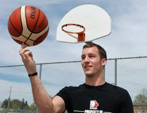 Joey Puddister, North Bay's first professional basketball player, came back to his roots on the Silver Birches playground court to talk about his championship season, Sunday. Dave Dale / The Nugget