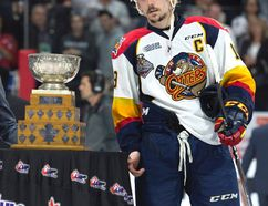 Erie Otters centre Dylan Strome poses with the MVP trophy following the Otters' loss to the Windsor Spitfires in the Memorial Cup final in Windsor, Ont., on Sunday, May 28, 2017. THE CANADIAN PRESS/Adrian Wyld ORG XMIT: ajw125