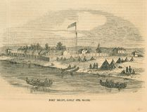 First Nations encamped at traditional camping ground next to Fort Brady, Sault Ste. Marie, Mich.