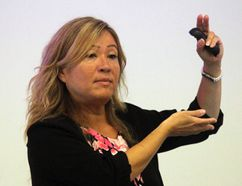 Suzanne Bernier speaks to staff at Perth County Paramedic Service headquarters on Monday, May 29, 2017 in Stratford, Ont. The president of SB Crisis Consulting delivered the first of a two-day presentation on emergency management and preparation. (Terry Bridge/Beacon Herald/Postmedia Network)