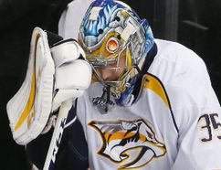 Nashville Predators goalie Pekka Rinne reacts to an empty-net goal by the Pittsburgh Penguins during the third period in Game 1 of the Stanley Cup final on May 29, 2017, in Pittsburgh. (GENE J. PUSKAR/AP)