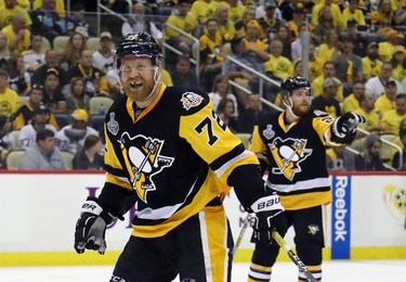PITTSBURGH, PA - MAY 29: Pittsburgh Penguins right wing Patric Hornqvist #72 argues the lack of a penalty call during the game against the Nashville Predators in Game One of the 2017 NHL Stanley Cup Final at PPG Paints Arena on May 29, 2017 in Pittsburgh, Pennsylvania.  (Photo by Bruce Bennett/Getty Images)
