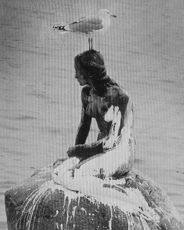 This is a  Feb. 7, 1972  file photo of a sea gull rests as it on the head of the 'Little Mermaid' statue after the harbor landmark was splashed with white paint in Copenhagen, Denmark. The statue was once again vandalized on Tuesday May 30, 2017.  (AP Photo)