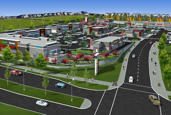 Conceptual art provided by Centron Group of The Commons at Eagle Ridge, a 250,000 square-foot shopping centre with a multiplex.