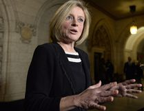 Premier Rachel Notley speaks to reporters during a media availability on Parliament Hill, Tuesday, Nov. 29, 2016 in Ottawa. THE CANADIAN PRESS/Justin Tang