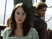 "In this image released by Disney, Kaya Scodelario portrays Carina Smyth, left, and Brenton Thwaites portrays Henry Turner in a scene from ""Pirates of the Caribbean: Dead Men Tell No Tales."" (Disney via AP)"