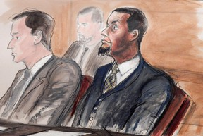 In this Feb. 24, 2016, courtroom file sketch, Tairod Nathan Webster Pugh, right, sits at the defense table with his attorney Zachary S. Taylor, during jury selection in a federal court in the Brooklyn borough of New York. (AP Photo/Elizabeth Williams, File)