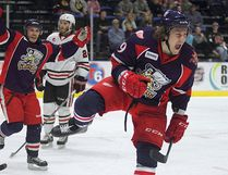 Grand Rapids Griffins forward and Greater Sudbury native Tyler Bertuzzi celebrates a playoff goal. Bertuzzi and the Griffins have rolled over the competition en route to the AHL's Calder Cup final, which begins Friday.