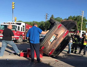 Eyewitness Dylan Moroz took this photo after a cyclist was critically injured Fermor Avenue at St. Mary's Road in Winnipeg on Wed., May 31, 2017. (Facebook)