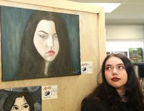 Grade 11 student Hannah Tessier will have a number of pieces of artwork on display at the annual art show at Sudbury Secondary School in Sudbury, Ont., including a self portrait . The exhibition, entitled Exposed, features more than 300 pieces of artwork that includes paintings, drawings, print making, sculptures and fashion design, from about 100 students from the high school. The public is welcome to view the exhibition on June 1-2 during school hours. John Lappa/Sudbury Star/Postmedia Network