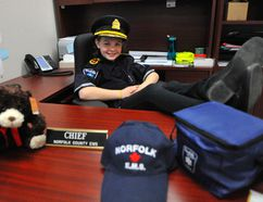 Simcoe's Chloe Binkley, 11, was named Norfolk County EMS Chief for the Day Thursday as part of Paramedic Services Week. The Grade 5 student toured Norfolk's Culver St. Administration Building, took part in morning meetings and got to inspect the county's newest ambulance. JACOB ROBINSON/Simcoe Reformer