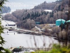 Kinder Morgan facility from the Burrard inlet in Burnaby B.C.