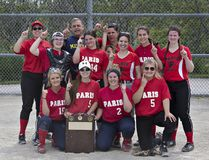 Members of the Paris District High School girls fastball team celebrates winning the Brant County championship on Thursday. (Brian Thompson/The Expositor)