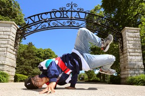 Jim Han of Ill at Will Street Dance Crew gets ready for this weekend?s 100in1Day in London at Victoria Park Thursday.  (Mike Hensen/The London Free Press)