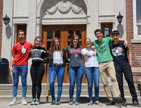 International students Diego Paramio, Emma Jové Solavera, Jennifer Arnuga-Pirš, Tina Pistrol, Jimena Nava, Giovanni Brambilla and Harry Wu in front of Brockville Collegiate Institute on Thursday. (Sabrina Bedford/The Recorder and Times)