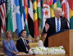 US President Donald Trump speaks during the Arabic Islamic American Summit at the King Abdulaziz Conference Center in Riyadh on May 21, 2017. MANDEL NGAN /Getty Images)