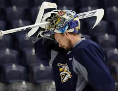 Nashville goaltender Pekka Rinne pauses during practice at Bridgestone Arena on Friday in Nashville. (AP)
