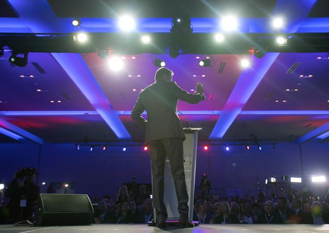 Maxime Bernier speaks during the opening night of the federal conservative leadership convention in Toronto on Friday, May 26, 2017. THE CANADIAN PRESS/Fred Thornhill